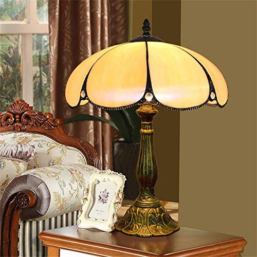 (EuSolis 12 Inch Amber Glass Tiffany Luxury Antique Bedside Table Lamps for Bedroom Living Room Art Deco Coffe Traditional Table Desk Edison Lamp 02)