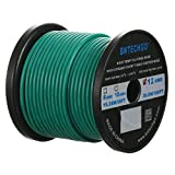 BNTECHGO 12 Gauge Silicone Wire Spool Green 100 feet Ultra Flexible High Temp 200 deg C 600V 12 AWG Silicone Rubber Wire 680 Strands of Tinned Copper Wire Stranded Wire for Model Battery Low Impedance