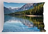 Ambesonne Coastal Pillow Sham, McDonald Lake America Mountains Forest Countryside Rural Woods, Decorative Standard Queen Size Printed Pillowcase, 30 X 20 inches, Green Purplegrey Light Blue