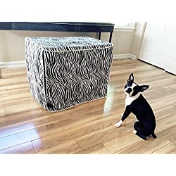 Black & White Zebra Dog Pet Wire Kennel Crate Cage House Cover (Small, Medium, Large, XL) (XL 42x28x31 inch)