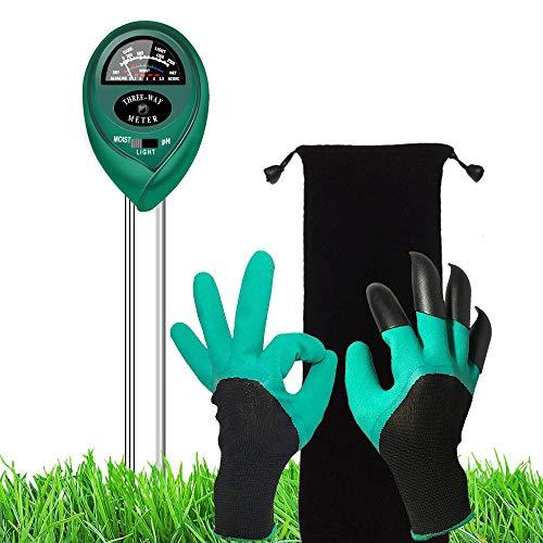 Supersks 3-in-1 Soil Tester Meter Test Kit for Light, Moisture and PH Garden Soil Moisture Meter Garden Kit and Gardening Gloves,for Indoor Plant Flowers, Outdoor Vegetable Garden, Lawn, Farm, Horticu