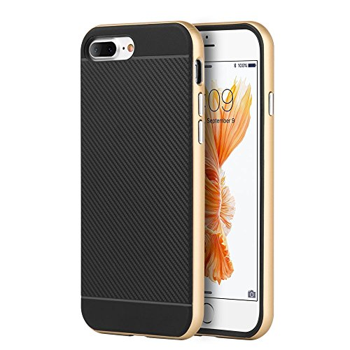 iPhone 7 Plus Case, Dreamwireless Dual Layer [Shock Absorbing] Protection Hybrid PC/TPU Rubber Case Cover For Apple iPhone 7 Plus, Black/Gold