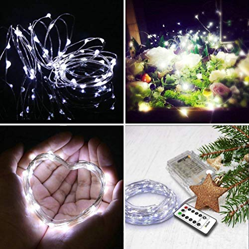 Battery Powered Fairy String Lights[Remote & Timer] 5M 50LEDs on Silver Wire Decorative Lighting Waterproof for Outdoor and Indoor Party Wedding Birthday Home Bedroom White[Energy Class A+]