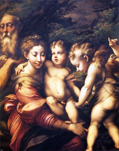 Girolamo Mazzola (Parmigianino) The Holy Family - 20'' x 25'' 100% Hand Painted Oil Painting Reproduction by Art Oyster