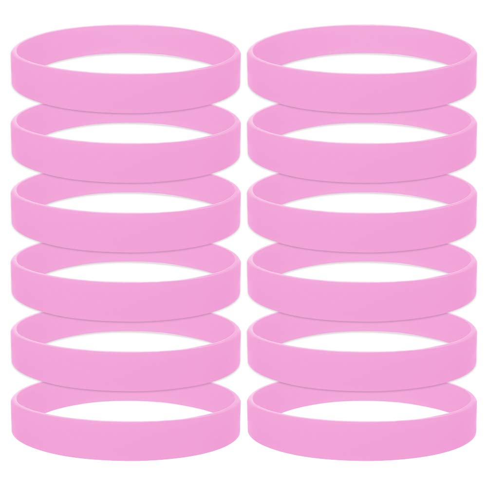 GOGO 12 PCS Silicone Wristbands for Kids, Rubber Bracelets, Party Favors-Pink