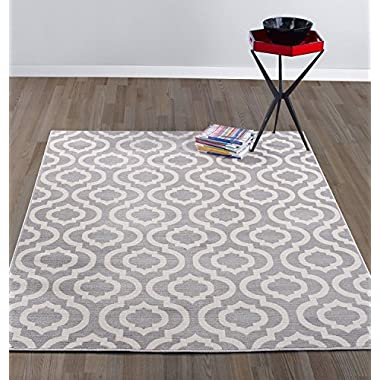 Diagona Designs Contemporary Moroccan Trellis Design Area Rug, 7'10  W x 9'10  L, Grey/Ivory