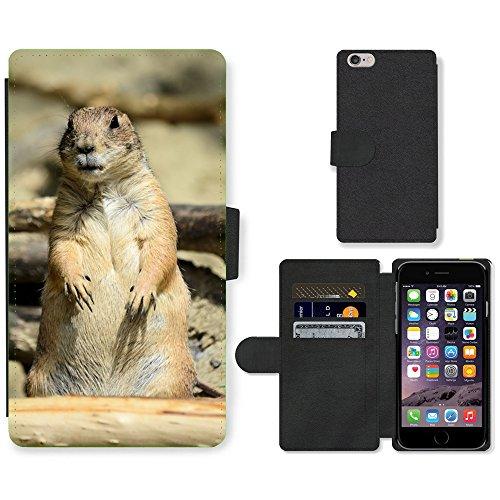 """Just Phone Cases PU Leather Flip Custodia Protettiva Case Cover per // M00129178 Prairie Dog Prairie animal rongeur // Apple iPhone 6 PLUS 5.5"""""""