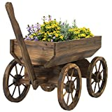 Best Choice Products Patio Garden Wooden Wagon Backyard Grow Flowers Planter w/ Wheels Home Outdoor (Lawn & Patio)