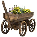 Best Choice Products Patio Garden Wooden Wagon Backyard Grow Flowers Planter w/ Wheels Home Outdoor