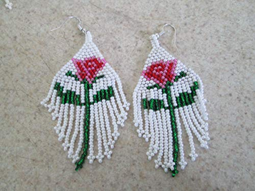 white pink ros1.5 red flower purple turquoise glass seed bead floral hand beaded dangle earrings Native American style southwest fair trade boho style design beadwork