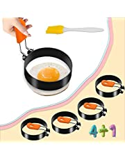 AISUNY Egg Rings for Frying Eggs, Round Egg Cooking Ring with Silicone Handle, Stainless Steel Egg Ring Nonstick Set of 4 with Oil Brush for Fried Egg Mcmuffins Pancake Sandwiches(2.95in)