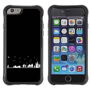 Híbridos estuche rígido plástico de protección con soporte para el Apple iPhone 6 (4.7) - night city silhouette moon stars