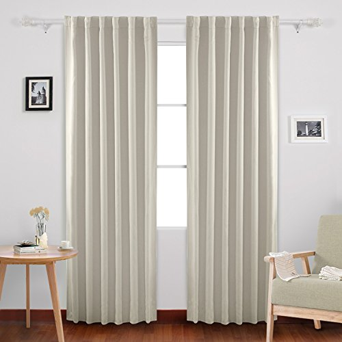 Deconovo Solid Back Tab and Rod Pocket Solid Thermal Insulated Blackout Curtain and Drapes for Living Room 52W x 84L Inch Set of 2 Panels Light Beige - Panels Drapes Set