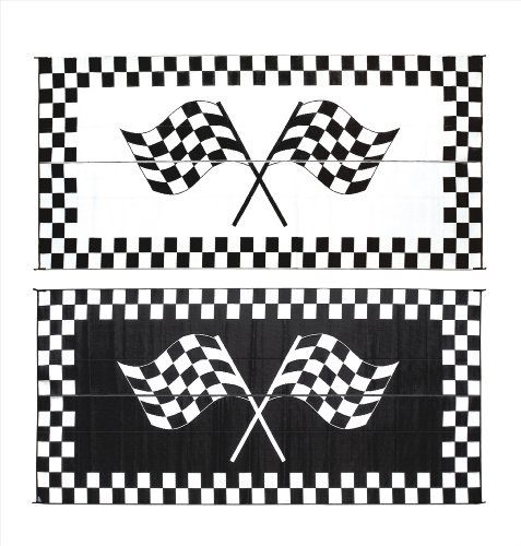 Reversible Patio Mat Racing - Stylish Camping RF-8201 8-Feet X 20-Feet Racing Flag Mat