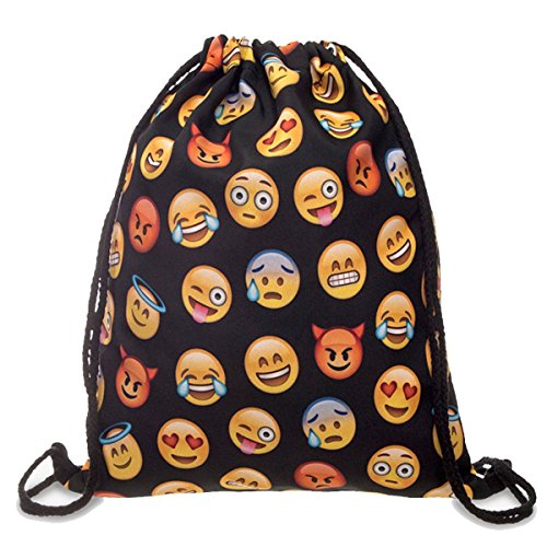 Price comparison product image Dimayar 18''X13.75'' Gym Sack Bag Drawstring Backpack Sport Bag for Men & Women School Travel Backpack for Teens College Girls Sackpack (Smile Faces)