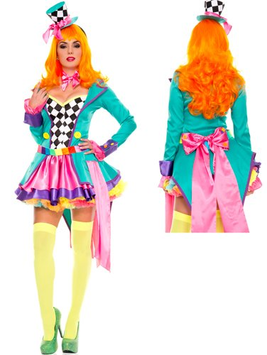 Hatter Hottie Adult Costume - Small/Medium (Sexy Mad Hatter Costumes)
