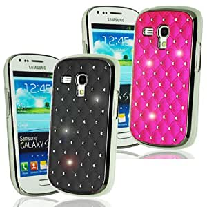 New Black and Hot Pink Diamante / Diamonte Bling Jewel embedded diamante studs cover for SAMSUNG GALAXY S3 i9300 - 2 Case Set. (2PK) - with FREE Mini Stylus by ruishername