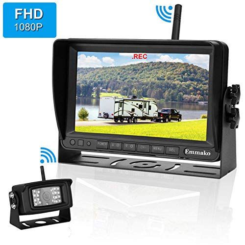 - Emmako FHD 1080P Digital Wireless Backup Camera With 7'' DVR Monitor Support Split/Quard Screen  For Trailers,RV,5th Wheels High-Speed Observation System Adjustable Rear/Front View, Guide Lines ON/Off