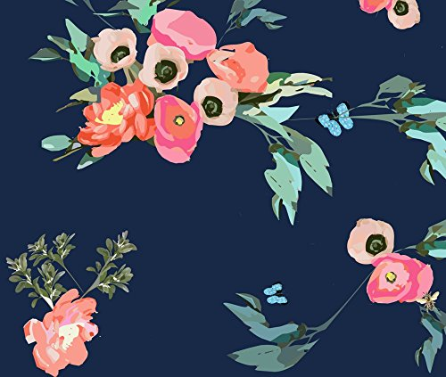 Poppy Coral (Pink And Blue Floral Fabric Pink Coral Blush Poppies Peonies On Navy With Butterflies And Bees by Jenlats Printed on Fleece Fabric by the Yard by Spoonflower)