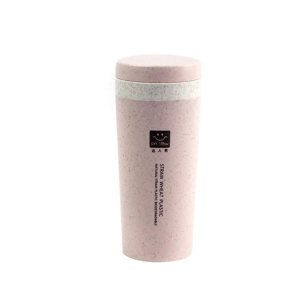 Insulated Mug With Lid, JDgoods Kitchen Wheat Straw Double Insulated Gift Mug Tumbler With Lid Eco-friendly For Gift (Pink)