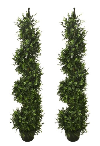 TWO Pre-potted 46.5'' Artificial Outdoor Indoor Eucalyptus Spiral Topiary Trees. In Plastic Pot by Arcadia Silk Plantation