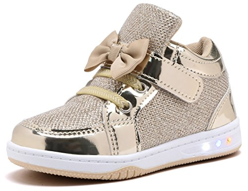 YILAN YL313 Toddler Glitter Shoes Girl's Flashing Sneakers with Cute Bowknot GLD-9 Gold -