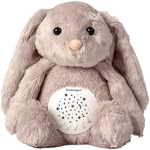 Dreamaginit White Noise Machine Bunny Plush Stuffed Animal- Nursery Night Light Projector - Shusher Sound & Lullabies Soother - Baby Toys & Gifts - Crib & Stroller Attachable Sleep Aid - Cry Sensor