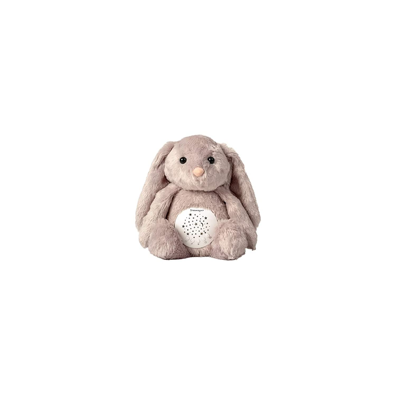 Dreamaginit Baby White Noise Machine, Lullabies & Shusher Sound Soother, Nursery Decor Night Light Projector, Toddler Crib Sleep Aid, Baby Gifts Portable Bunny Plush Stuffed Animal