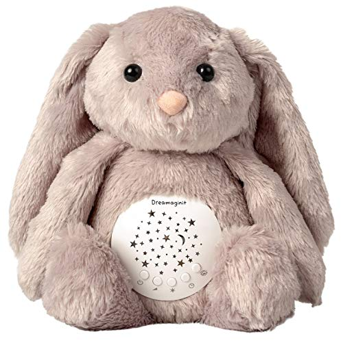 Dreamaginit Baby White Noise Machine, Lullabies & Shusher Sound Soother, Nursery Decor Night Light Projector, Toddler Crib Sleep Aid, Baby Gifts Portable Bunny Plush Stuffed Animal from Dreamaginit