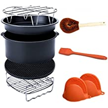 Air Fryer Accessories Fits All 3.7QT - 5.3QT - 5.8QT - Non-stick Barrel / Pan + Stainless Steel Holder / Double-layer Rack with Skewers+ Silicone Mat + Palm Leaf Pot Brush