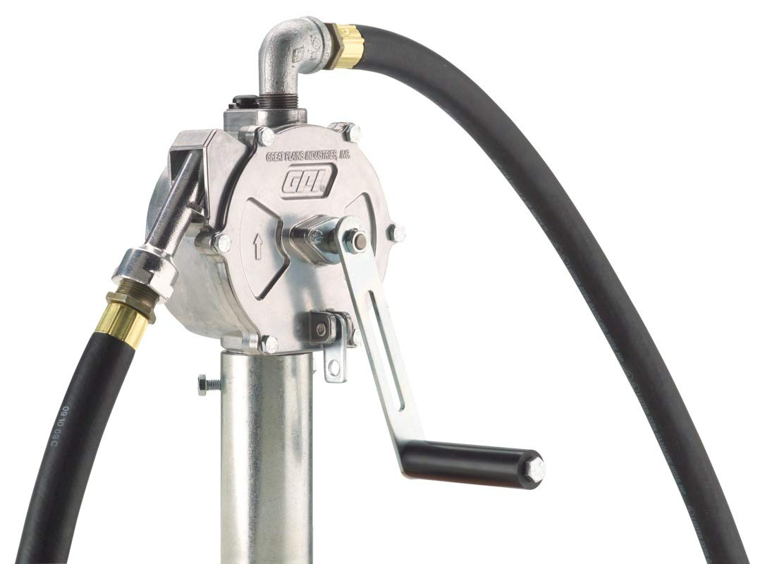 GPI 123000-06, RP-10-UL Rotary Hand Pump, Up to 10 Gal/100 Revolutions, Metal Spout, 8' Hose, Suction Pipe