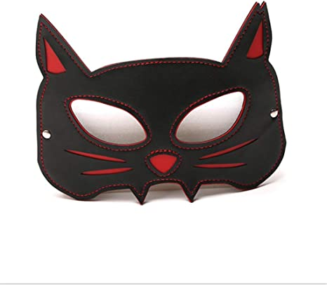 Black leather mask for fancy dress fun roleplay cats eyes