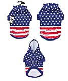 Dog Hoodies Distressed American Flag Look Red White & Blue Stars & Stripes
