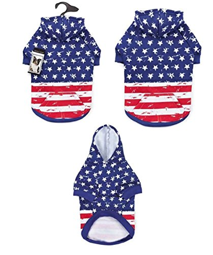 Dog Hoodies Distressed American Flag Look Red White & Blue Stars & Stripes by Defonia Petsupplies