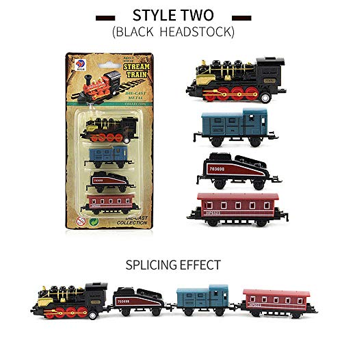 (Children's Toys,Freesa Childrens Classical Alloy Retro Steam Simulated Joint Train Model Kid Child Toys Gifts New This Is The Best Gift For Children Alloy Toy Car Retro Steam Train Car Black)