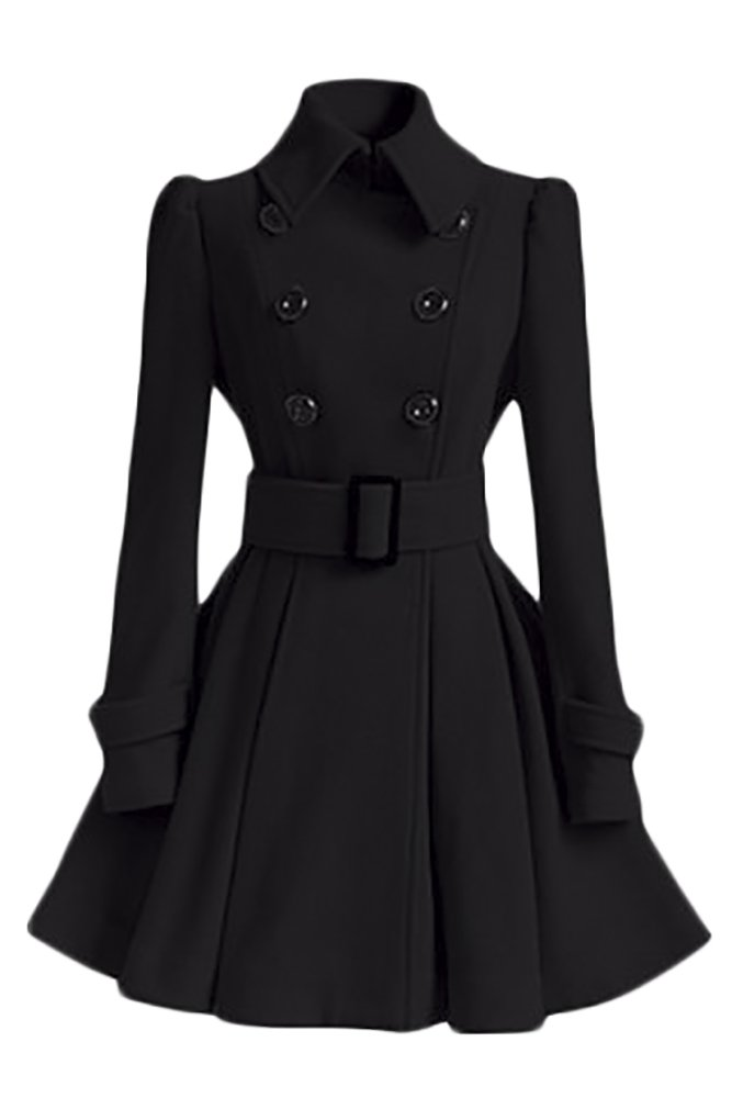 QZUnique Women's Long Double Breast Outwear Warm Slim Belted Coat Black US 10