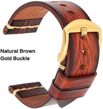 TGBZ ユニバーサル時計手作り時計バンド20ミリメートル21ミリメートル22ミリメートル23ミリメートル24ミリメートルレザー腕時計バンド (Band Color : Brown Gold, Band Width : 24mm)