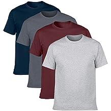 NewDenBer Men's Classic Basic Solid Ultra Soft Cotton T-Shirt | 1-2-4 Pack