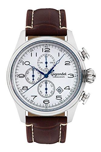 Gigandet Men's Quartz Watch Timeless Chronograph Analog Leather Strap Brown White G41-003