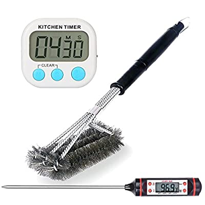 BBQ Grill Accessories, 1 Grill Brush Stainless teel Brushes Cleaner, 1 Cooking Thermometer,1 Kithchen Timer, Perfect for Char-Broil, Weber, Porcelain and Infrared Grills by Comfy Mee