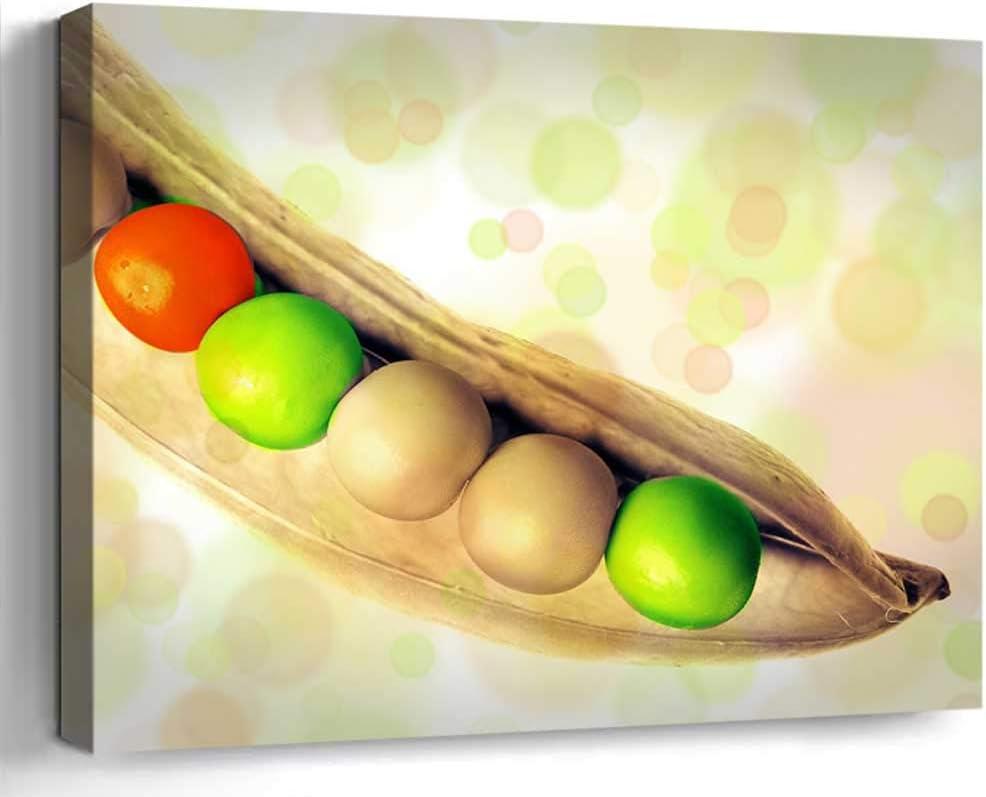 Amymami Wall Art Print Canvas Framed for Home Decor(20x14 in)- Peas Pea Pod Vegetables Food Pod Sleeve Fris