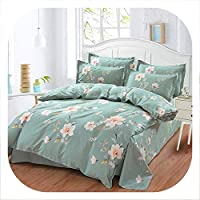 HANBINGPO Korean Princess Pastoral Style Flower Printing Pattern Queen King Double Duvet Cover Bed Sheet Set 100% Cotton Design Bedding Set,style1,175x210cm Double Set,Flat Bed Sheet