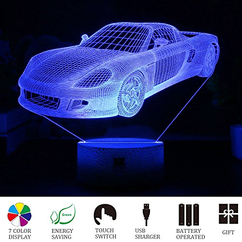 Car 3D LED Visual Illusion Night Light Xmas Chirstmas Halloween Birthday Party Gift Nursery Bedroom Playroom Table Night Lamps Lights for Boys Kid Children Car Lovers Room Theme Decoration by HUI YUAN