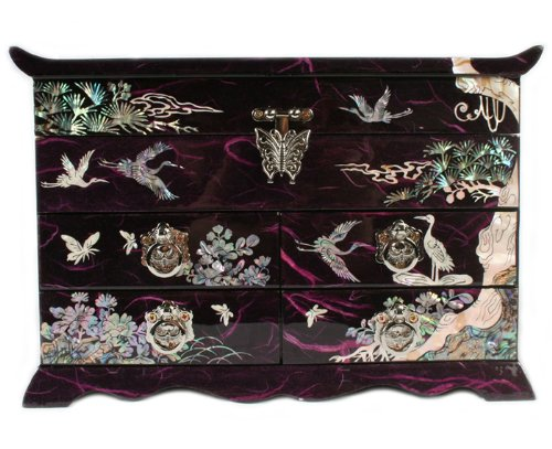 Mother of Pearl Crane and Pine Tree in Purple Mulberry Paper Design Wooden Jewelry Mirror Trinket Keepsake Treasure Gift Asian Lacquer Box Case Chest Organizer by Antique Alive Jewelry Box (Image #4)
