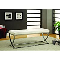 Coaster Home Furnishings Bench, Chrome/White