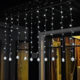 Snowflake Curtain Lights, Tofu 8 Function 60 LED 6.6ft Starry Hanging Icicle Twinkle Fairy String Lights for Bedroom Christmas Xmas Indoor Room Window Wedding Party Decoration(White)