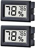 Digital Hygrometer Gauge Indoor Thermometer, LCD Monitor Temperature Outdoor Humidity Meter for Humidors, Greenhouse, Incubators, Garden, Cellar, Fridge, Closet, Guitar Case, 2 Packs