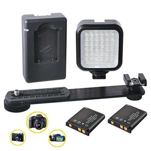 Flash Twin Softbox Kit (CONTINUOUS LIGHTING: Powerful LED Light Panel for Fotodiox DIY Twin Lens Reflex 35mm Film Camera Kit, Includes: Flash Bracket -2 Rechargeable Batteries - Charger - Shoe Mount Adapter - Ultra Bright!)
