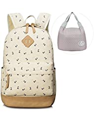 Leaper Canvas Laptop Backpack Cute School Bags and Lunch Bag 2PCS Set