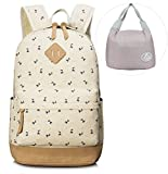 Leaper Lightweight Canvas Laptop Backpack Cute School Bags and Lunch Bag (2PCS, Deer Beige)
